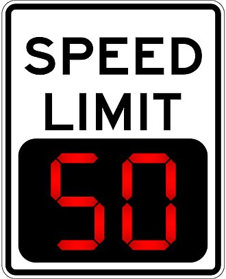 Internet of things - Digital variable speed-limit sign.