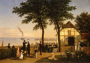 Vedbæk - A family is relaxing in the garden at Vedbæk Inn. The paddle steamer is dropping off tourists in the background and there are fishing boats on the beach. Painting from 1853 by Andreas Juel