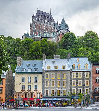 Old Quebec - View of Old Quebec from Lower Town. Château Frontenac is visible at the top