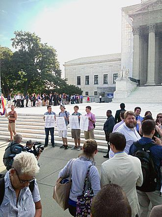 United States v. Windsor - Photo of the steps of the United States Supreme Court building on the morning of June 26, 2013, hours before the court overturned the Defense of Marriage Act.