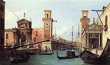 L'entrata dell'Arsenale di Venezia dipinta da Canaletto (1732)