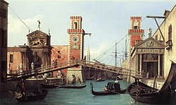 View of the entrance to the Arsenal by Canaletto, 1732.jpg