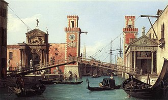 Factory - Entrance to the Venetian Arsenal by Canaletto, 1732.