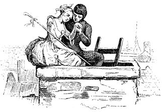 """The Shepherdess and the Chimney Sweep - Illustration from """"Fairy Tales, 1850"""" by Vilhelm Pedersen, Andersen's first illustrator"""