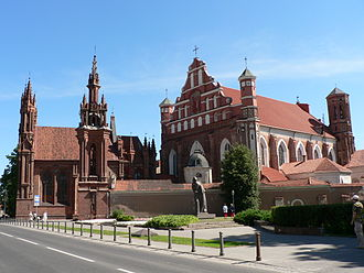 St. Anne's Church and the Church of St. Francis and St. Bernard are an outstanding examples of Gothic architecture in Lithuania Vilnius St Anns church.jpg