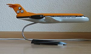 Model aircraft - Fokker F28 static desk model.