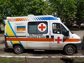 Civil volunteer movement helping Ukrainian forces in the war in Donbass - Ambulance donated to Ukrainian forces by Italian Ukrainians.