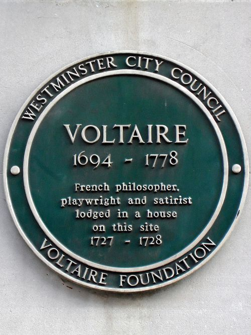 Voltaire 1694 1778 french philosopher and satirist lodged in a house on this site 1727 1728