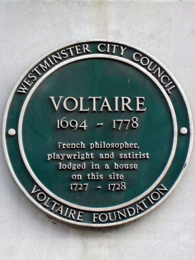 Voltaire green plaque - Voltaire 1694-1778 French philosopher and satirist lodged in a house on this site 1727-1728