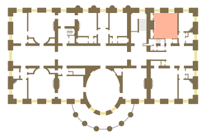 Queens' Bedroom - Floor plan of the White House second floor showing location of the Queens' Bedroom.