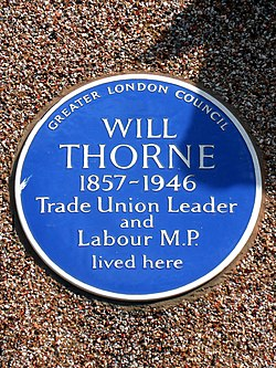 Will thorne 1857 1946 trade union leader and labour m.p. lived here