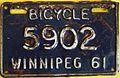 WINNIPEG MANITOBA 1961 -BICYCLE PLATE - Flickr - woody1778a.jpg