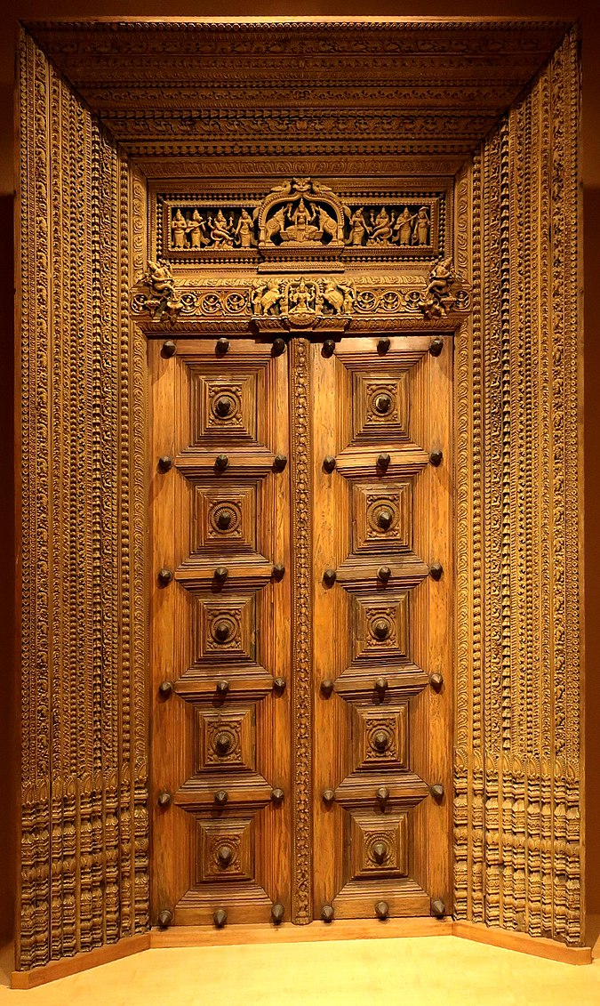 File wla haa carved wooden doors south india ca 18th for Kail wood doors designs