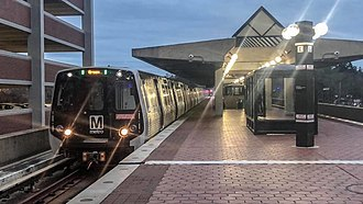 College Park–University of Maryland station - WMATA Kawasaki 7000 Series on the Green Line at College Park