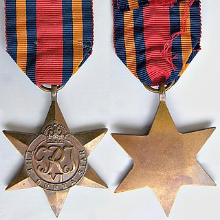 Burma Star A military campaign medal,for award to subjects of the British Commonwealth who served in the Burma Campaign