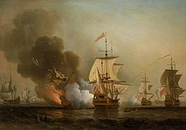"""Explosion of San José during Wager's Action"". Olieverf op canvas door Samuel Scott"
