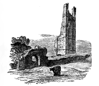 """St. Mary's Abbey, Trim - The Yellow Steeple behind the """"Sheep's Gate,"""" part of the old city wall, from a nineteenth century sketch"""