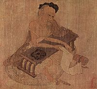 Painting of the scholar Fu Sheng, by the Tang poet, musician, and painter Wang Wei (701–761)
