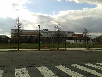 Washington-Lee High School - View of the high school from across Quincy Street (2017)