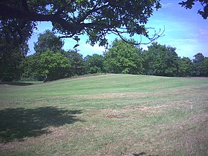 Wimbledon, London - Remains of the ditch between the two main ramparts of the Iron Age hill fort