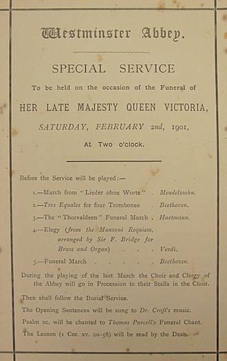 Funeral of Queen Victoria - Westminster Abbey. Special Service To be held on the occasion of the Funeral of Her Late Majesty Queen Victoria, Saturday, February 2nd, 1901, At Two o'clock. Order of Service