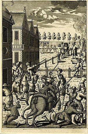 John Morphew - The Whigs Unmask'd (1713), satirical print of a 1712 riot, published by John Morphew.