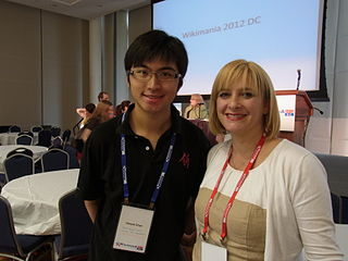 Deryck Chan at Wikimania 2012 with Allison Kupietzky