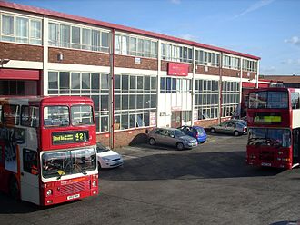 Warrington's Own Buses - The frontage of the bus depot on Wilderspool Causeway