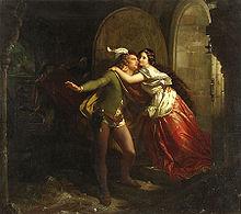 Lenardo und Blandine, Gemälde von Wilhelm Volkhart nach Bürgers gleichnamiger Ballade (Quelle: Wikimedia)