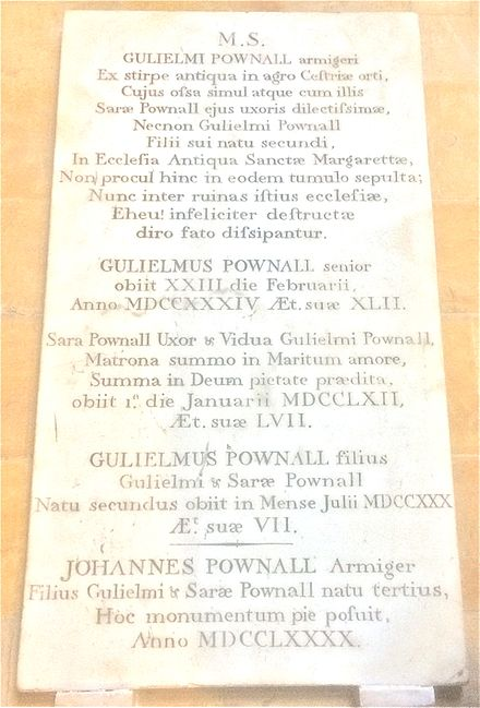 Monument to William and Sarah Pownall in Lincoln Cathedral, erected by Thomas's brother John in 1790. William Pownall.jpg