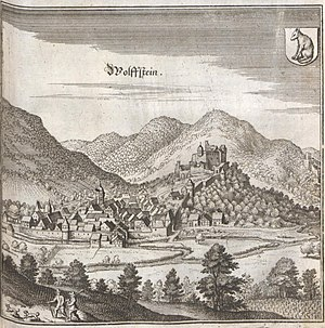 Wolfstein, Rhineland-Palatinate - Wolfstein, from an engraving by Matthäus Merian in his Topographia Palatinatus Rheni et Vicinarum Regionum