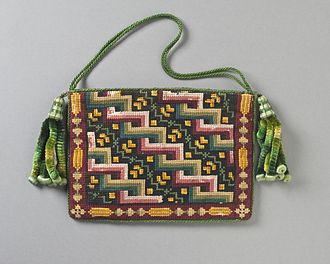 Berlin wool work - Woman's purse, Berlin wool work, Europe, cotton canvas with wool needlepoint, silk-braided cord, and silk chenille tassels, c. 1840, Los Angeles County Museum of Art, M.2007.211.280.