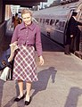 Woman and Metroliner train at Metropark station, October 1970.jpg