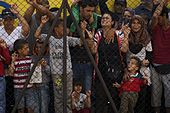 Women and children among Syrian refugees striking at the platform of Budapest Keleti railway station. Refugee crisis. Budapest, Hungary, Central Europe, 4 September 2015. (2).jpg
