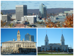 (Clockwise from top) Skyline of Worcester, Union Station and City Hall