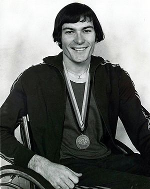Ray Barrett (athlete) - Image: Xxxx 72 Ray Barrett with Paralympic bronze medal 3b scan