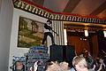 Yannis Philippakis climbing the Beachland Ballroom set.jpg