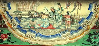"Yue Fei - Yue Fei's mother writes jin zhong bao guo on his back, as depicted in a ""Suzhou style"" beam decoration at the Summer Palace, Beijing."