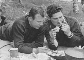 Boris Volynov - Yuri Gagarin (left) and Boris Volynov (right) on picnic in Dolgoprudny
