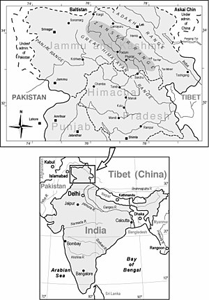 Zaskar Range - location map of Zanskar