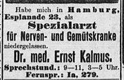 Zeitungsanzeige von Dr. med. Ernst Kalmus