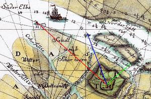 Scharhörnbake - Bearing (red) from the Rothe Ton via the Scharhörnbake to the Great Tower Neuwerk (1721)