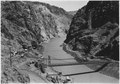 """Looking upstream into Black Canyon toward Hoover Damsite from point on Six Companies Construction road on Nevada side."" - NARA - 293720.tif"