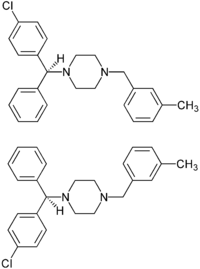 (±)-Meclozine enantiomers structural formulae.png
