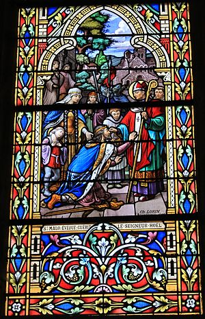 Malo (saint) - St Malo and Hoel in a stained-glass window in Reguiny.