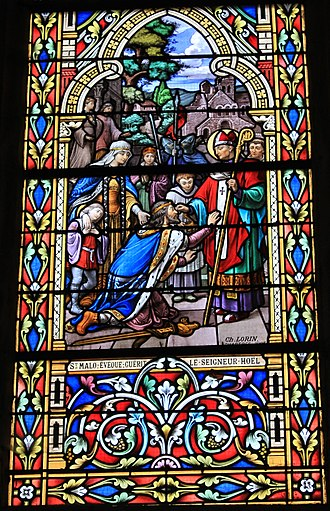 Hoel - St Malo and Hoel in a stained-glass window in Reguiny
