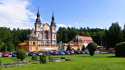 The Saint Mary's Sanctuary in Swieta Lipka at the border of historical Warmia and Masuria was consecrated by Jesuits in 1619. It was once the site of apparitions and miracles and is Poland's finest example of Baroque architecture. Swieta Lipka, Bazylika Nawiedzenia NMP.jpg