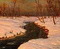 Иван Федорович Шульце - Снежный пейзаж с рекой на закате.jpg
