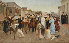 1893 Painting Of A Marriage Procession In Russian Shtetl By Isaak Asknaziy