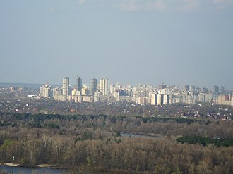 Desnianskyi District, Kiev - Image: Троєщина панорама